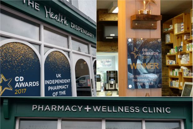 The C+D Award-winning branding takes pride of place in the Health Dispensary's window