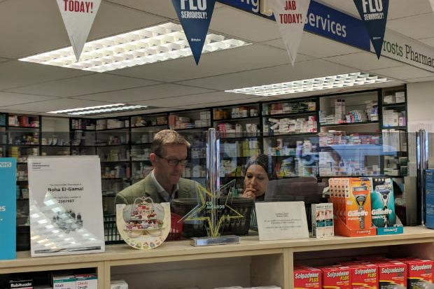 Owner Stuart Gale and manager Noha El-Gamal say housing a local surgery protected the pharmacy