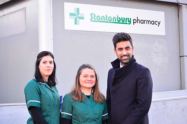 From left: dispensers Alicia Martin and Magda Wojtala, with pharmacy manager Krishan Modi