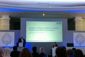 NHS England's Richard Cattell and Alison Hemsworth presenting at the APTUK conference