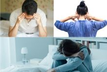 Headaches, pain in the neck and back, and fatigue are all symptoms associated with fibromyalgia