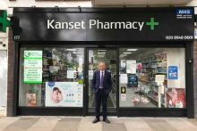 Superintendent pharmacist Dipak Nandha outside Kanset Pharmacy in Ham, south-west London