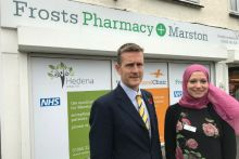 Pharmacy owner Stuart Gale and pharmacy manager Noha El-Gamal outside Marston Pharmacy