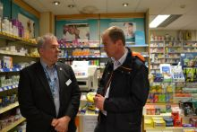 Tim Farron MP visiting a pharmacy in his south Cumbria constituency last year