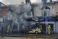 The former Jhoots pharmacy in Smethwick caught fire on August 13 (Credit: Handsworth Community Fire Station)