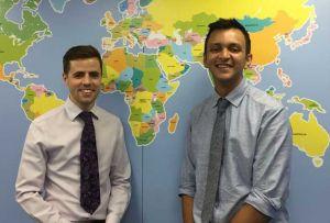 Pharmacists James Tibbs (right) and Liam O'Sullivan run a travel clinic in AR Pharmacy
